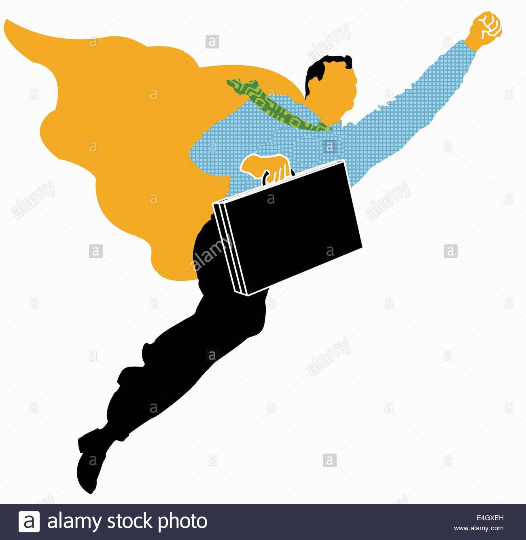 Superhero businessman flying - Stock Image