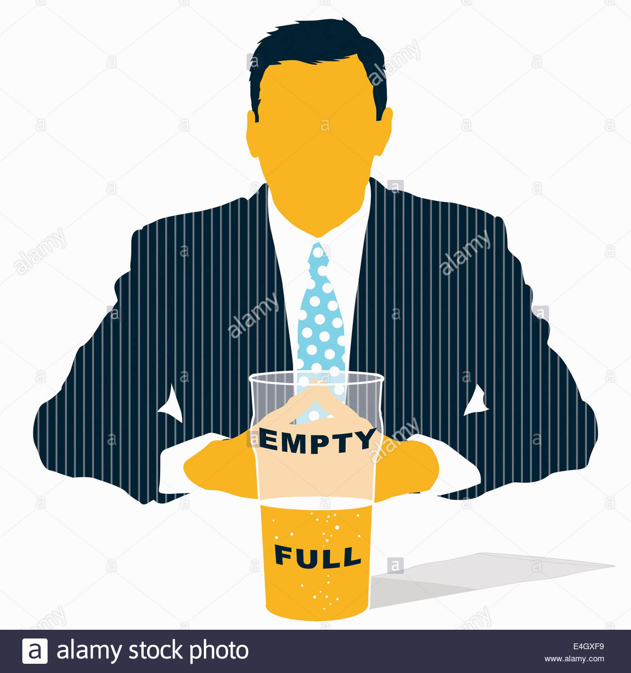 Businessman looking at glass half empty half full - Stock Image