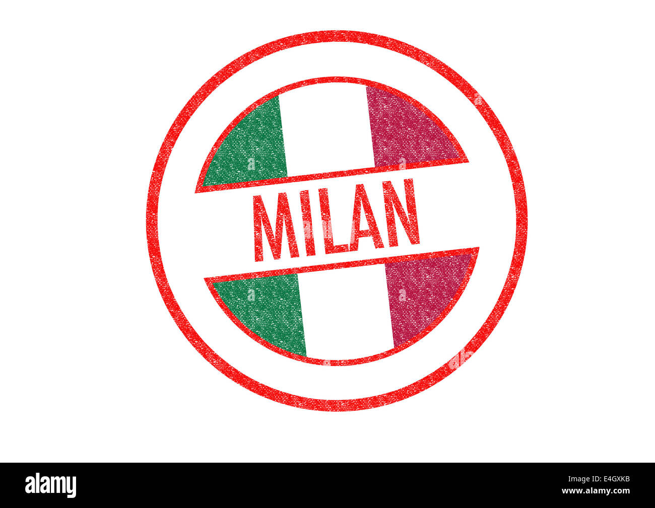Passport-style MILAN rubber stamp over a white background. - Stock Image