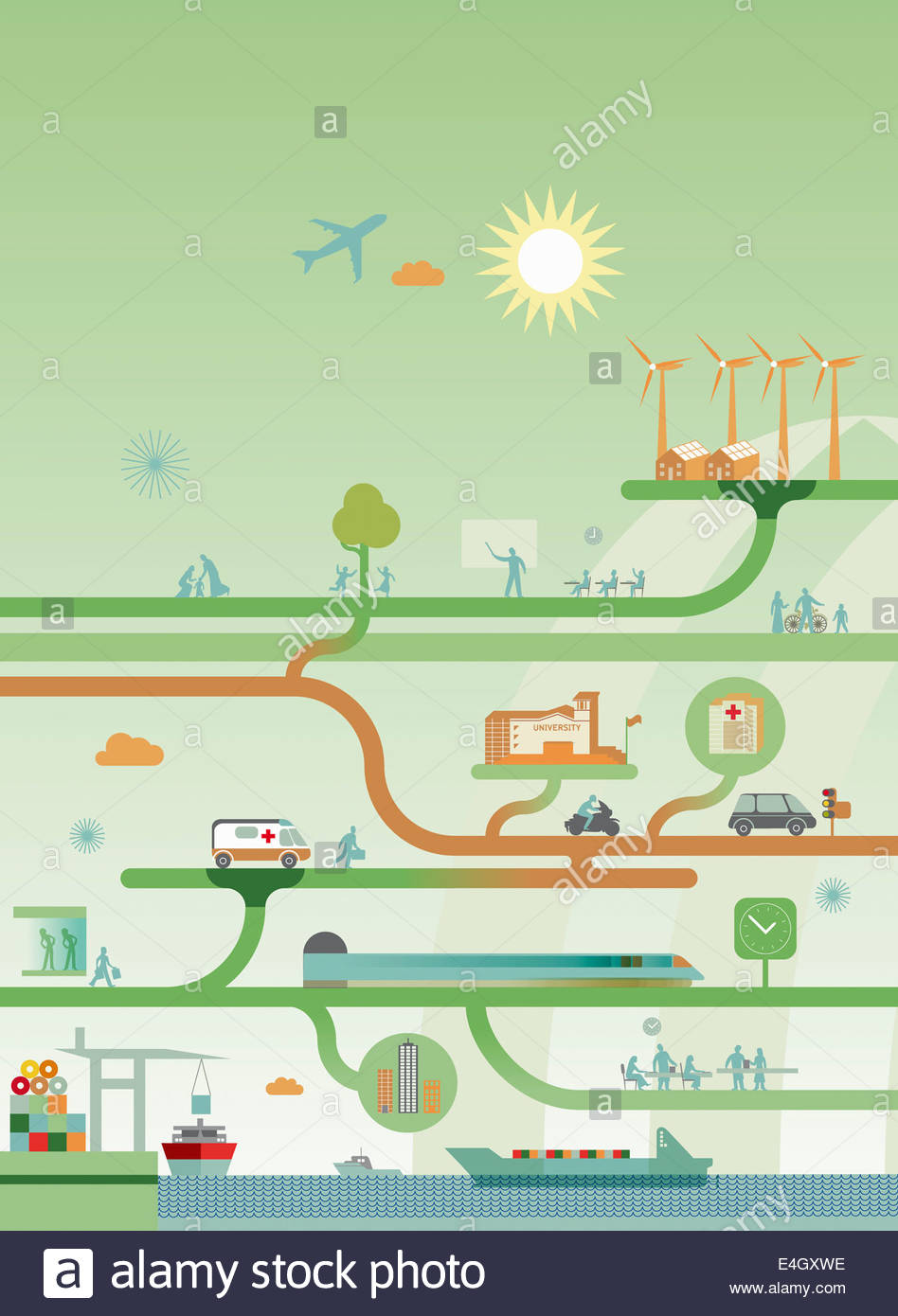 Network diagram of interconnection between energy, work, play and the provision of good and services - Stock Image