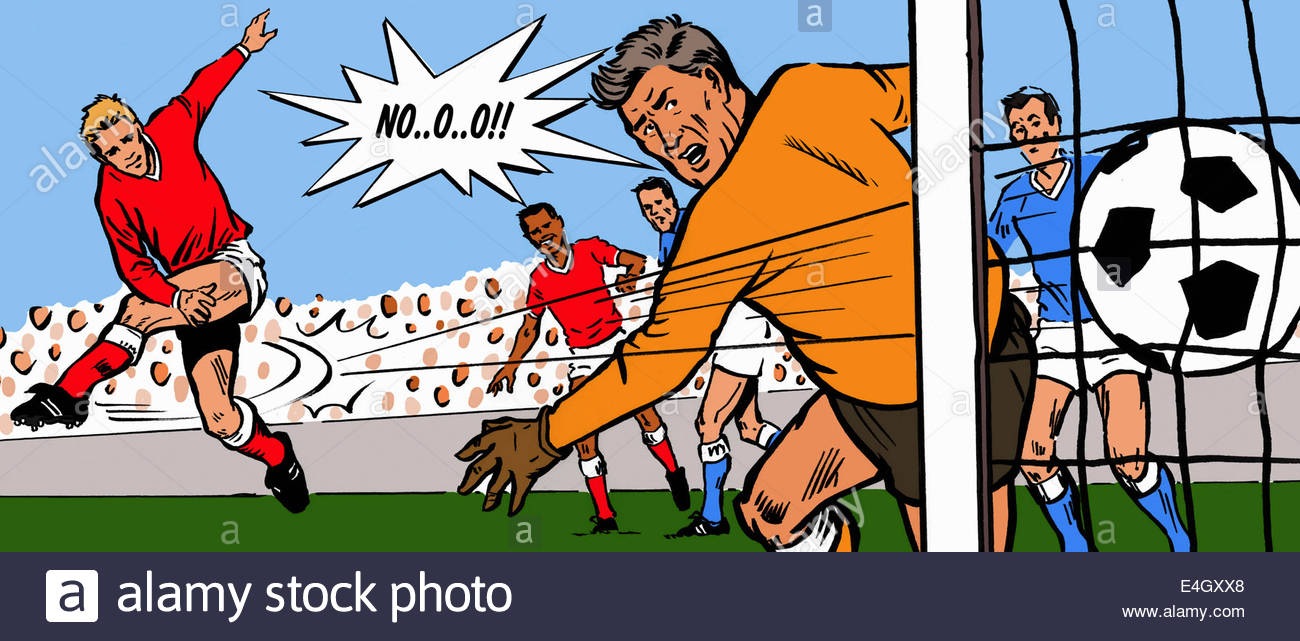 Soccer goalkeeper unhappy when striker scores goal - Stock Image