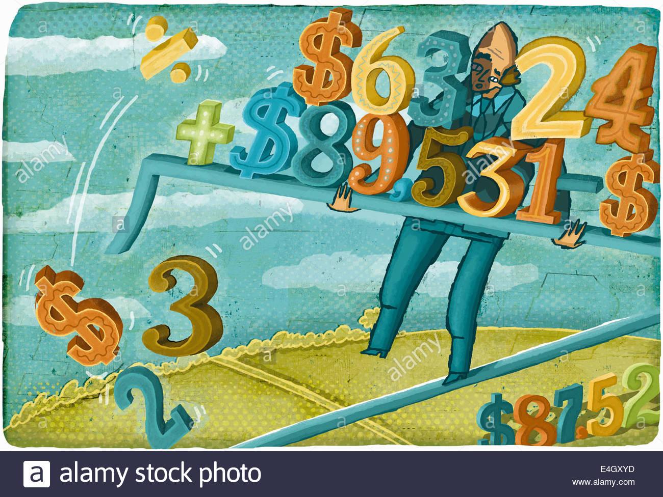 Stressed businessman walking tightrope balancing falling dollar calculations - Stock Image
