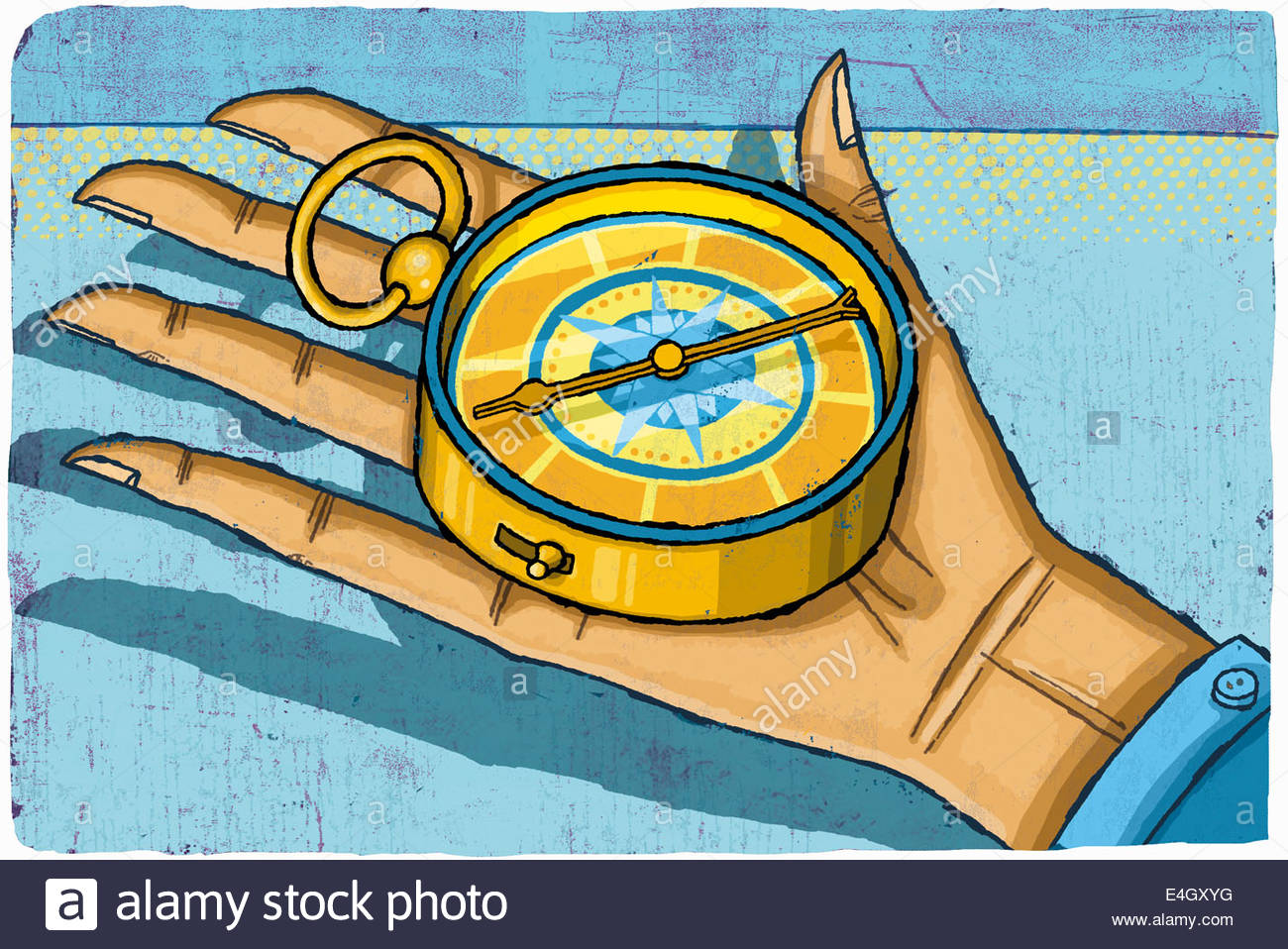Hand holding compass - Stock Image