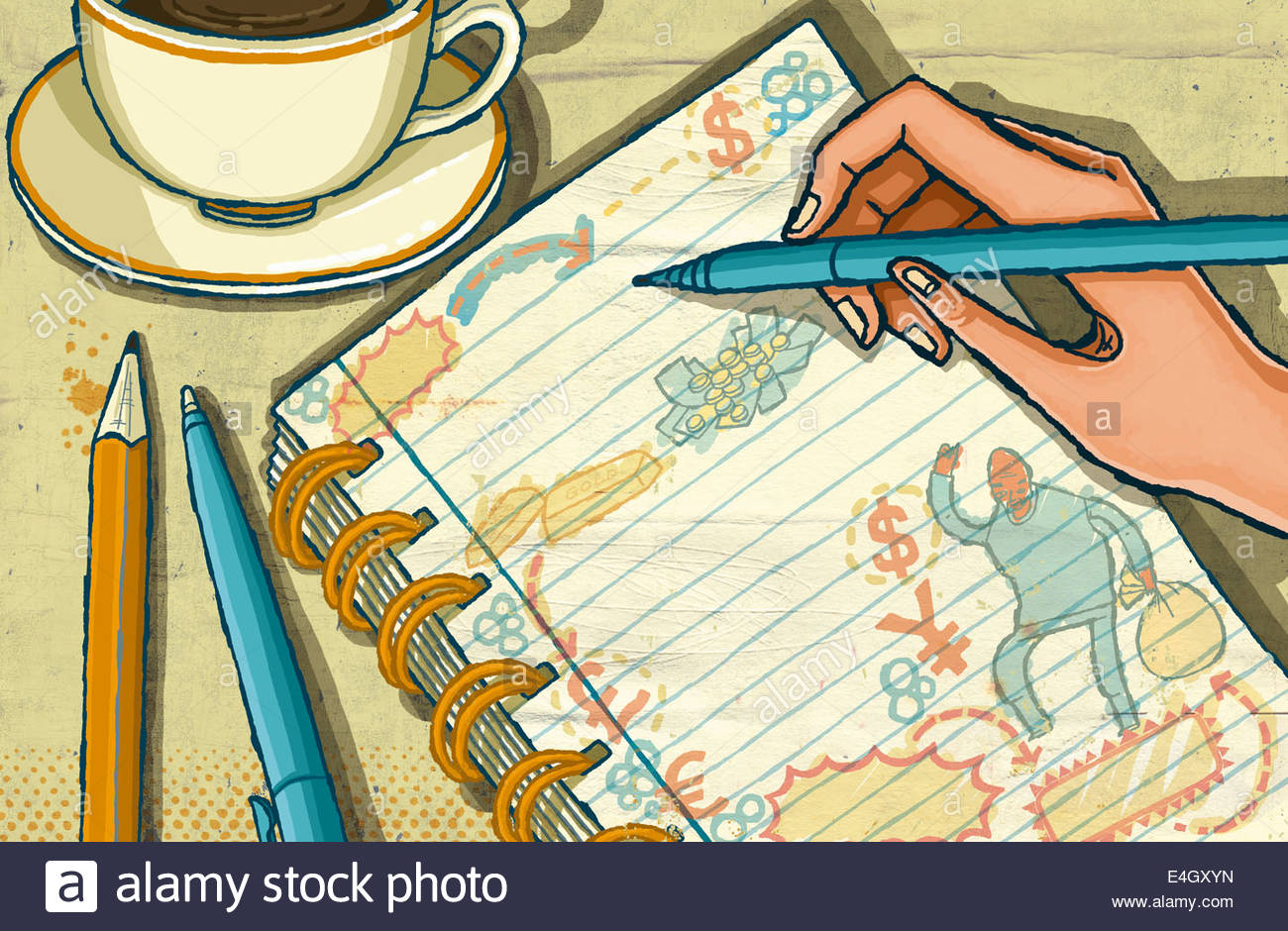 Hand doodling drawing money and currency symbols in notebook - Stock Image