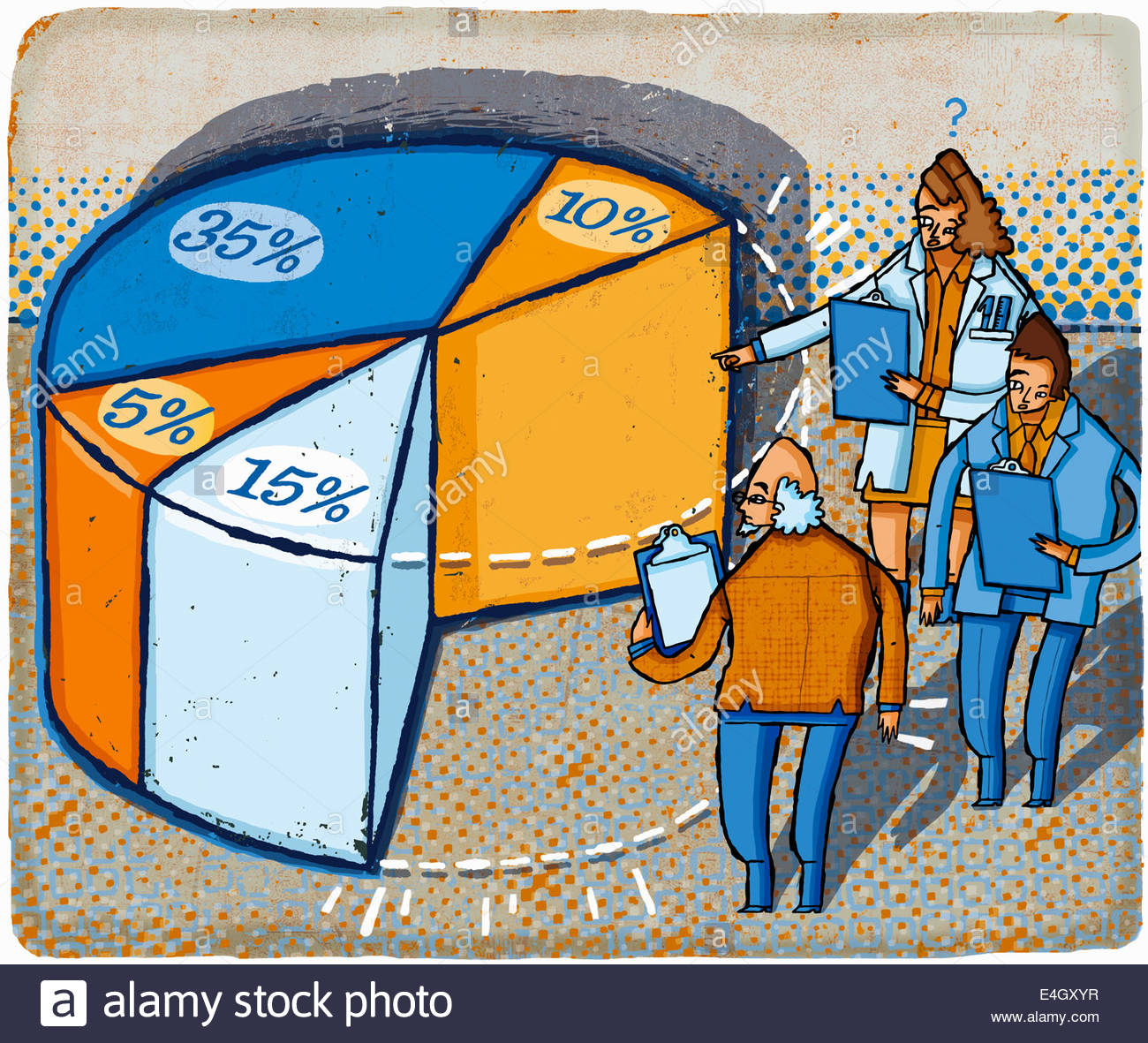 Business people with clipboards examining missing piece of pie chart - Stock Image