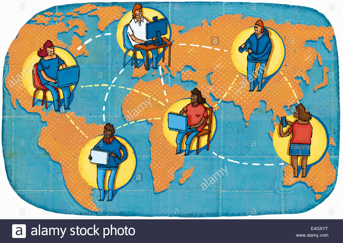 People using computers and mobile technology to communicate across world map - Stock Image