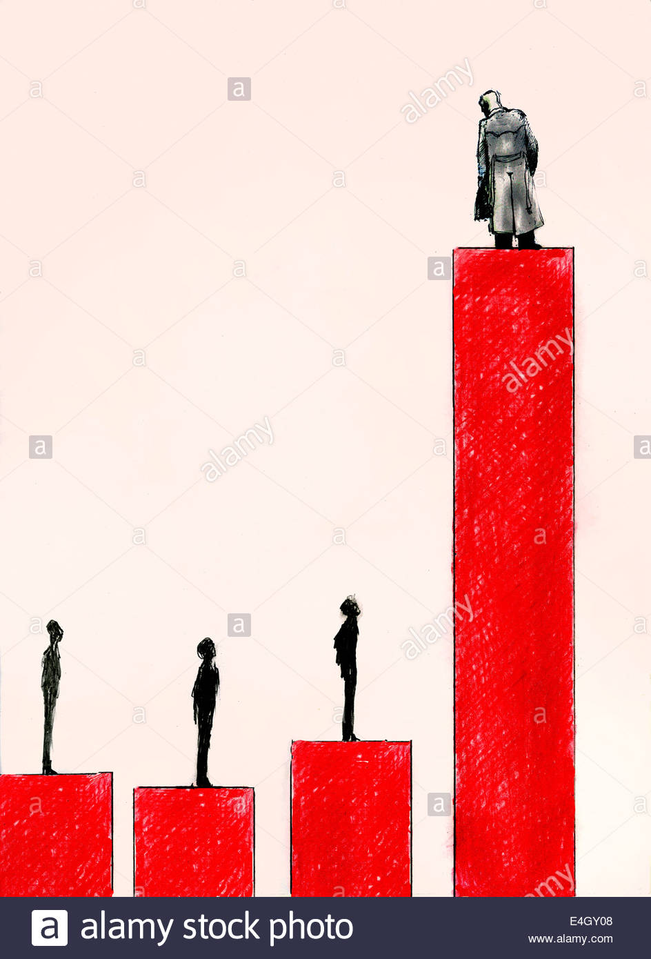 Successful businessman on top of high bar chart looking down business people lower on graph - Stock Image