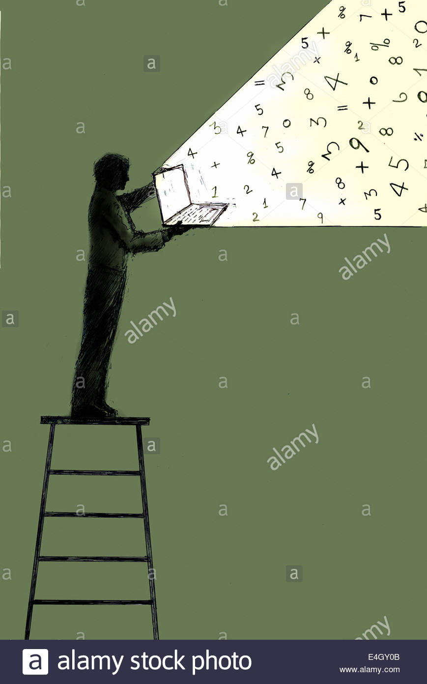 Numbers streaming from open laptop held by man standing on top of ladder - Stock Image