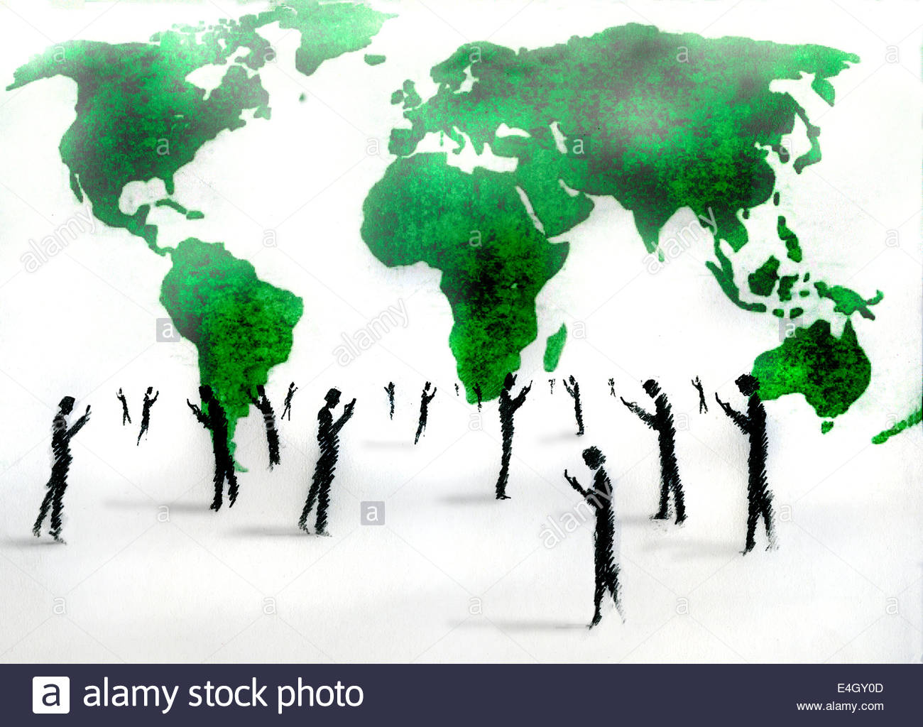 Business men and women checking cell phones in front of world map - Stock Image