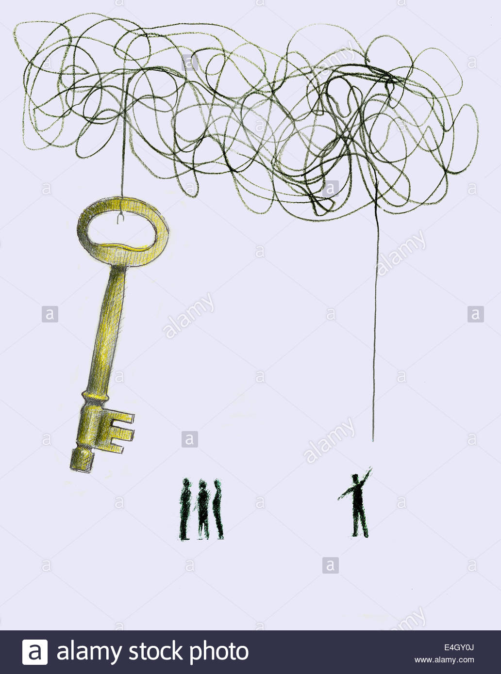 Man discovering end of tangled string attached to large key - Stock Image