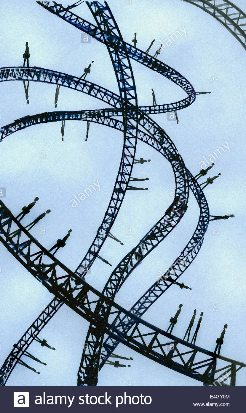 Business men and women walking on intertwined roller coaster tracks - Stock Image