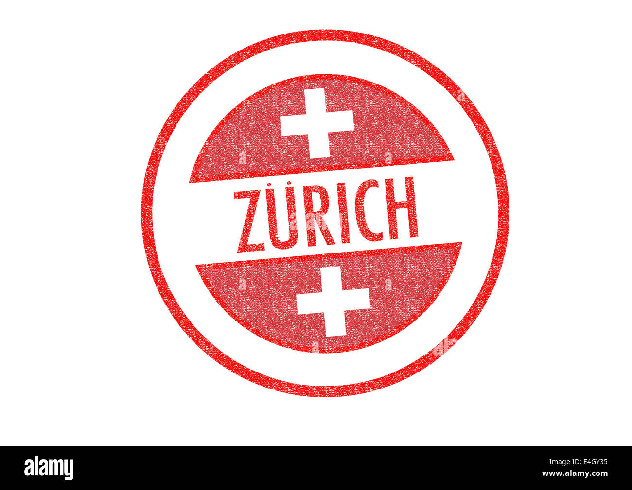 Passport-style ZURICH rubber stamp over a white background. - Stock Image