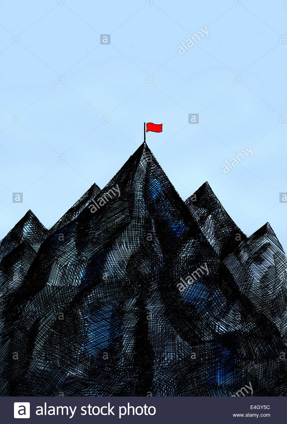 Red flag on mountain summit - Stock Image