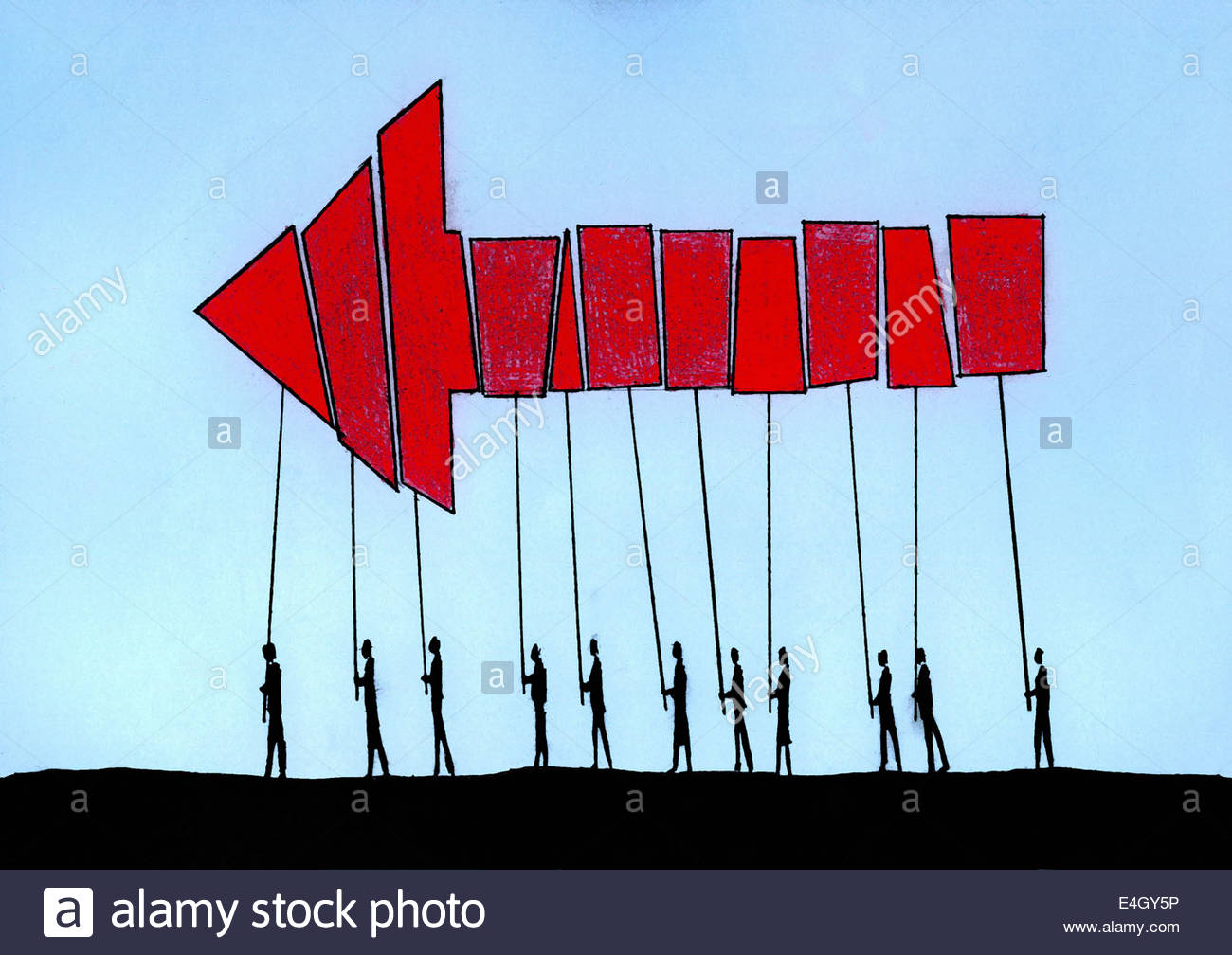 Red arrow formed from pieces by people cooperating and working together - Stock Image