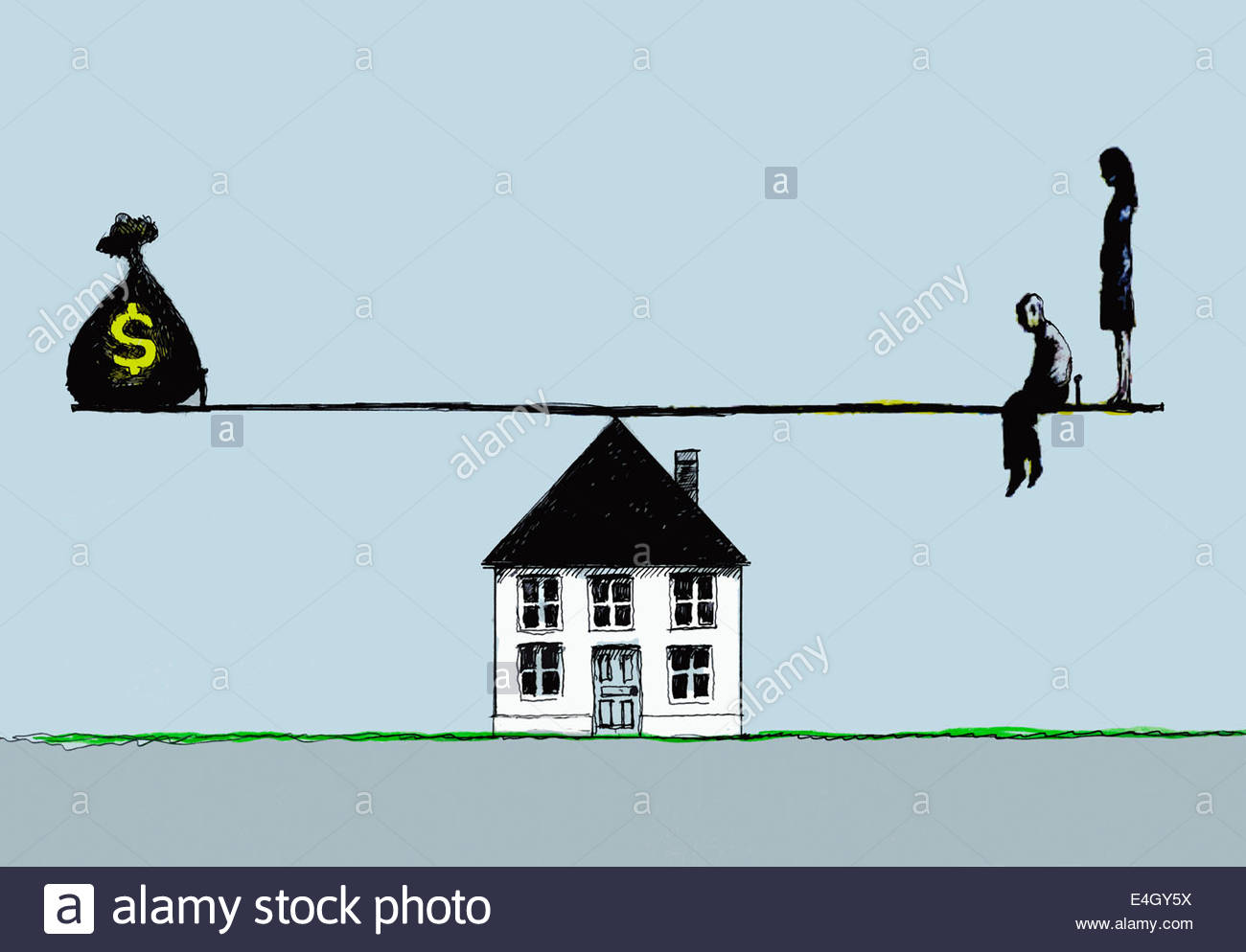 Unhappy couple opposite dollar money bag on seesaw balancing on house - Stock Image
