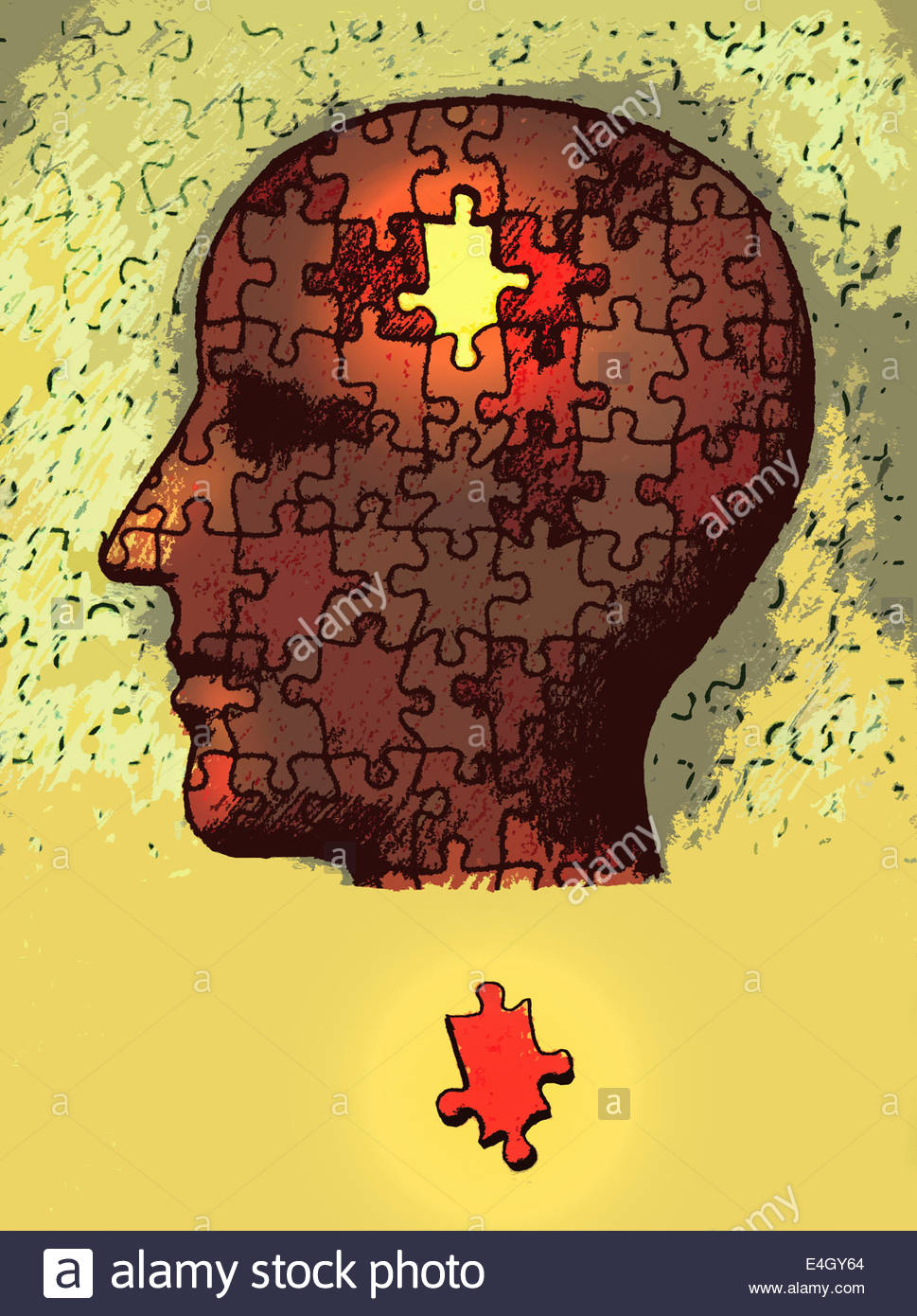 Missing jigsaw piece outside man's head - Stock Image