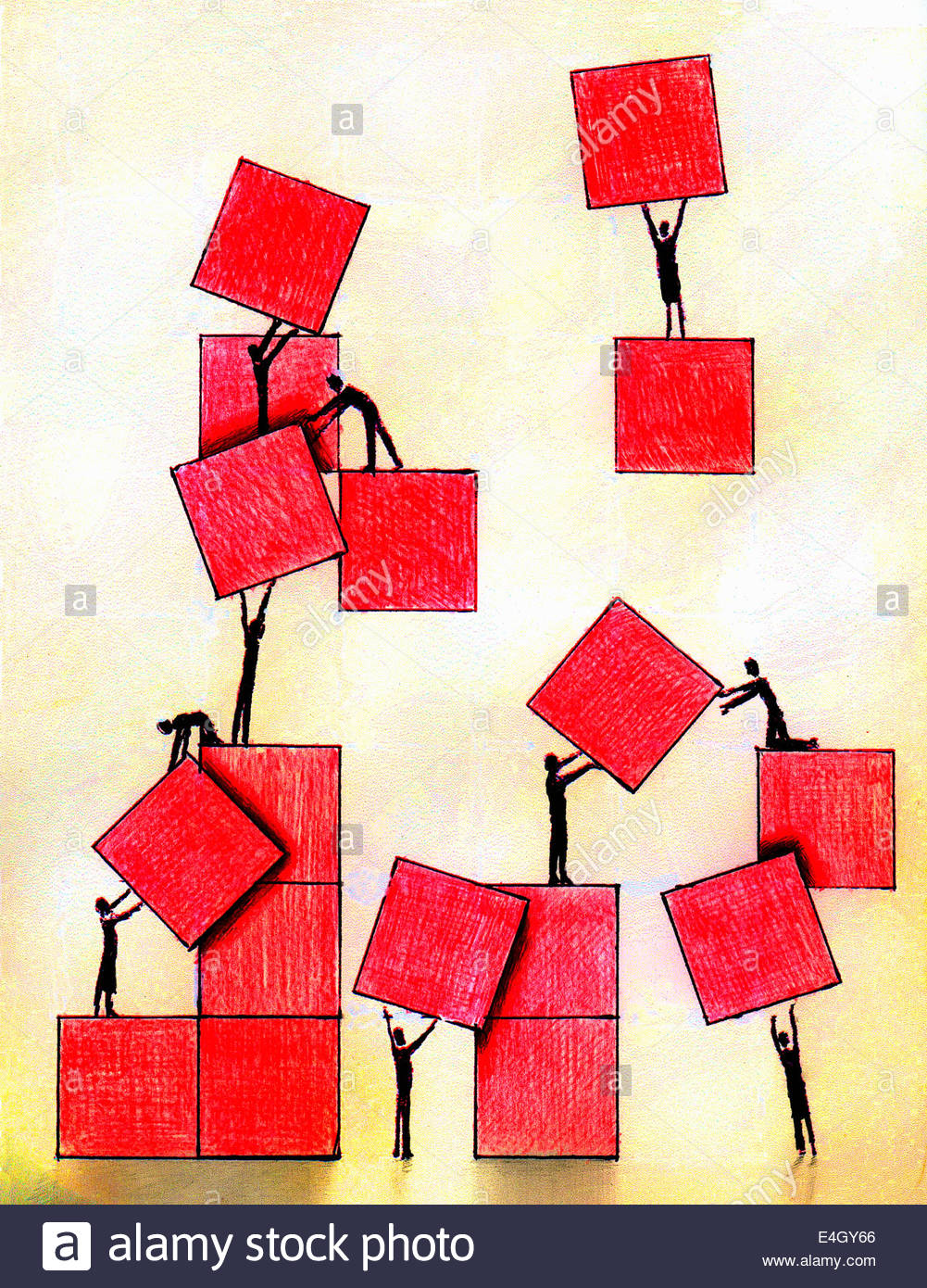 Business people working together moving red squares - Stock Image