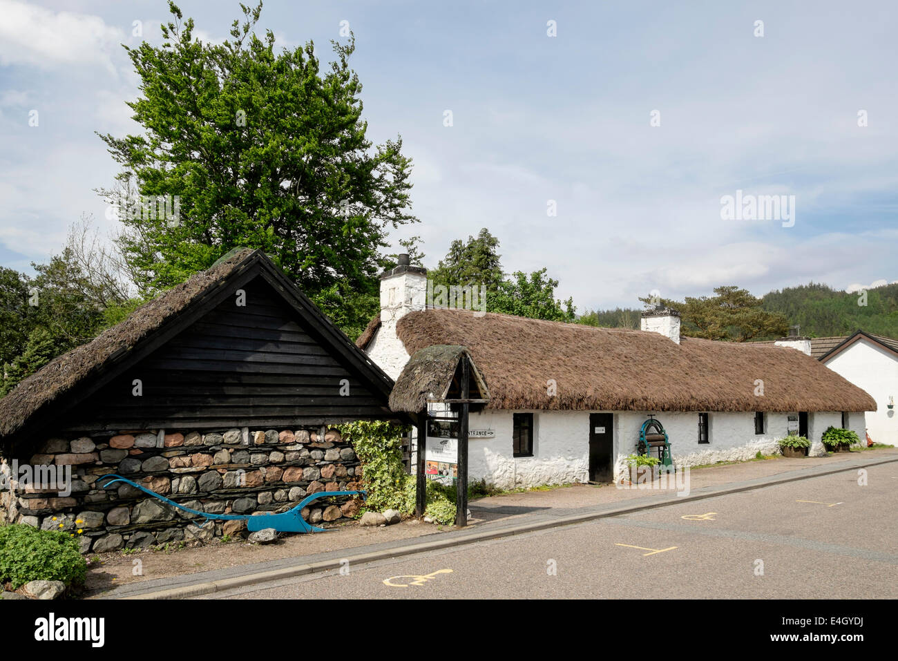 Glencoe and North Lorn Folk Museum in old thatched building in village. Glencoe, Highland, Scotland, UK, Britain - Stock Image