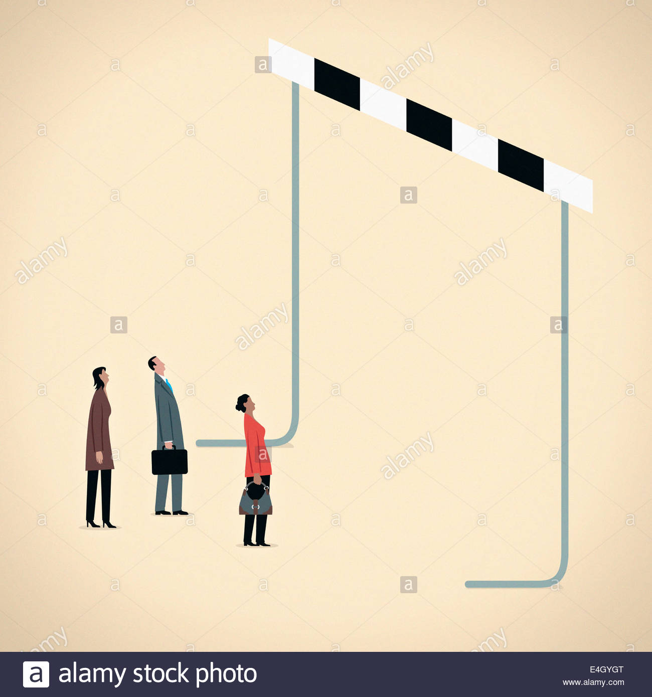 Business people looking up at high oversized hurdle - Stock Image