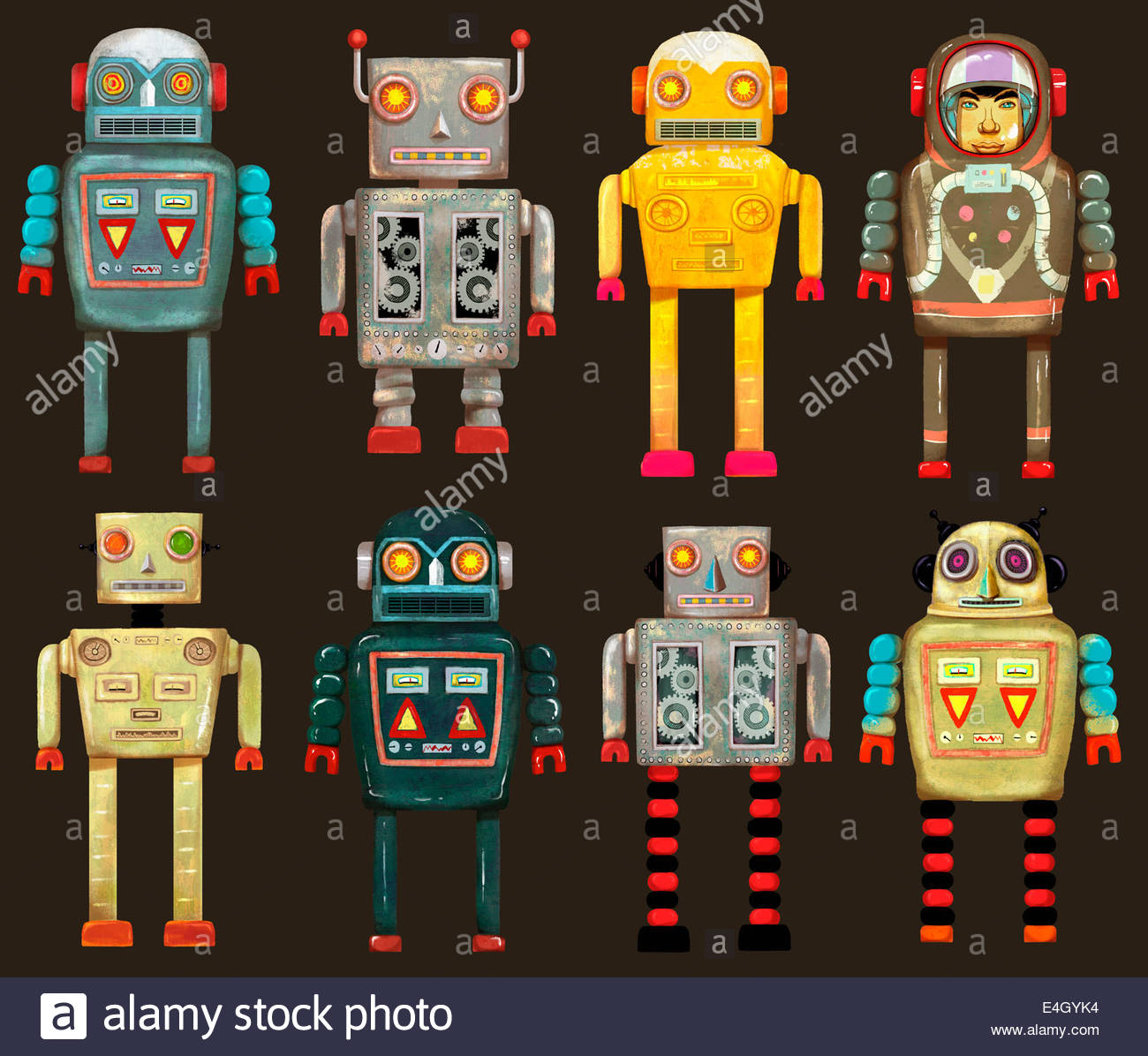 Variety of robots in a row - Stock Image