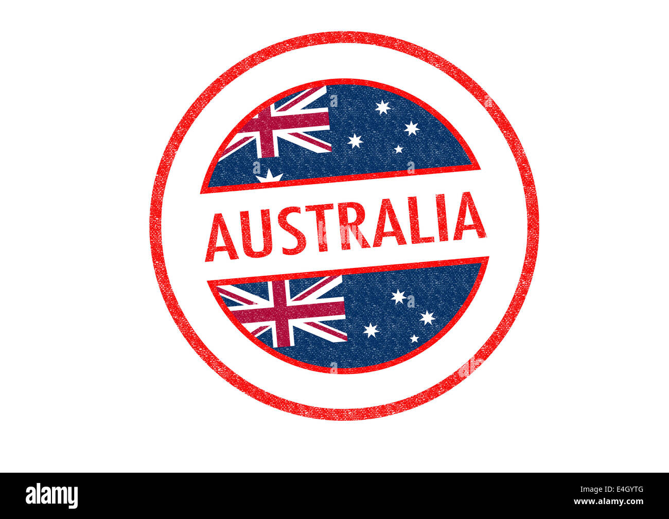 Passport Style AUSTRALIA Rubber Stamp Over A White Background
