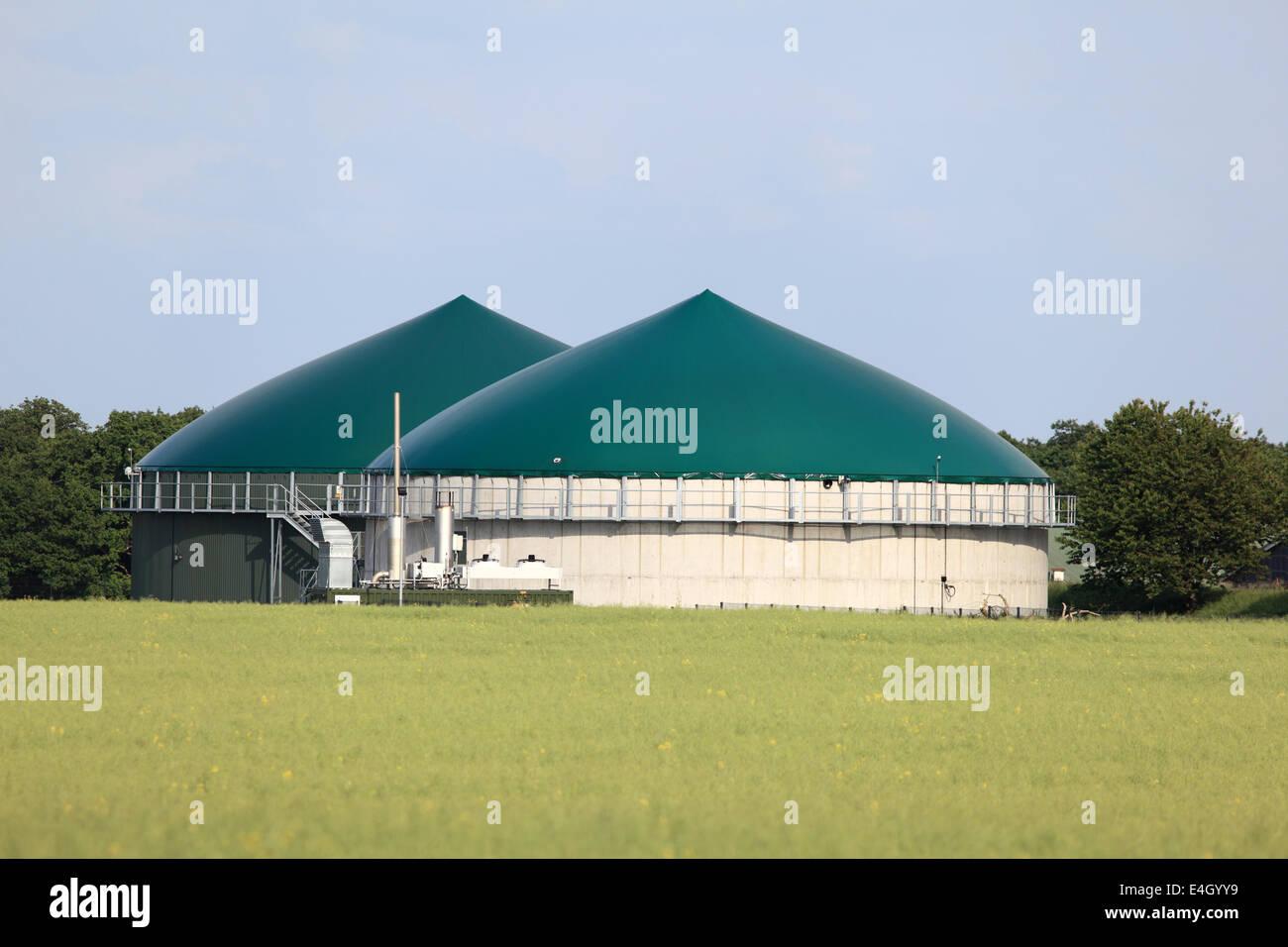 Modern biogas plant for renewable energy - Stock Image