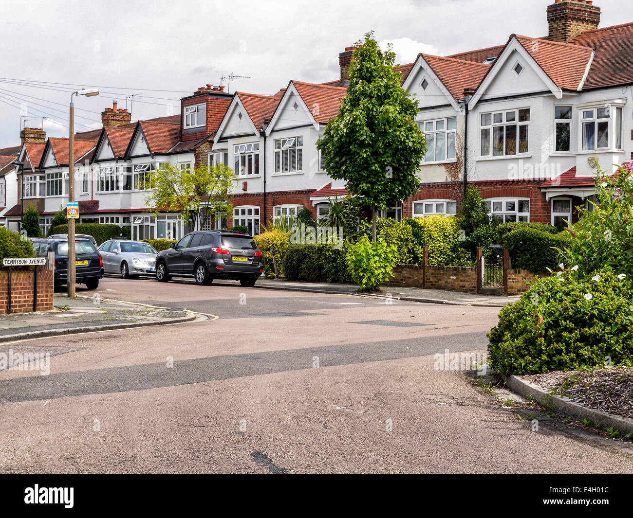 Typical terraced houses in suburb of Twickenham, Greater London, UK - Stock Image