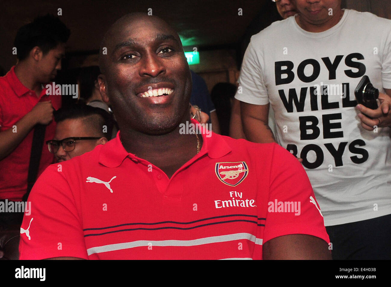 Singapore. 11th July, 2014. Former Arsenal player Sol Campbell attends the Arsenal's new kit launch in Singapore, - Stock Image