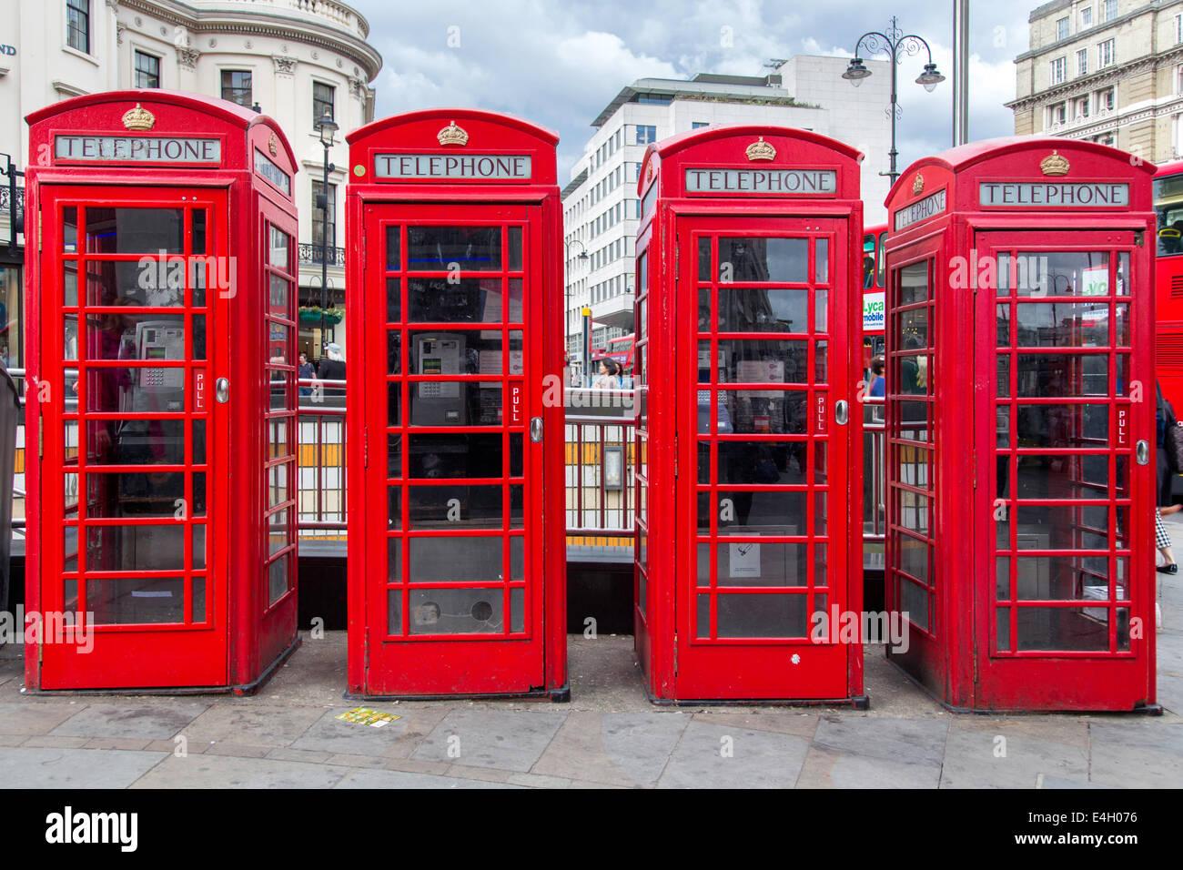 K6 Telephone boxes, London, England, UK - Stock Image