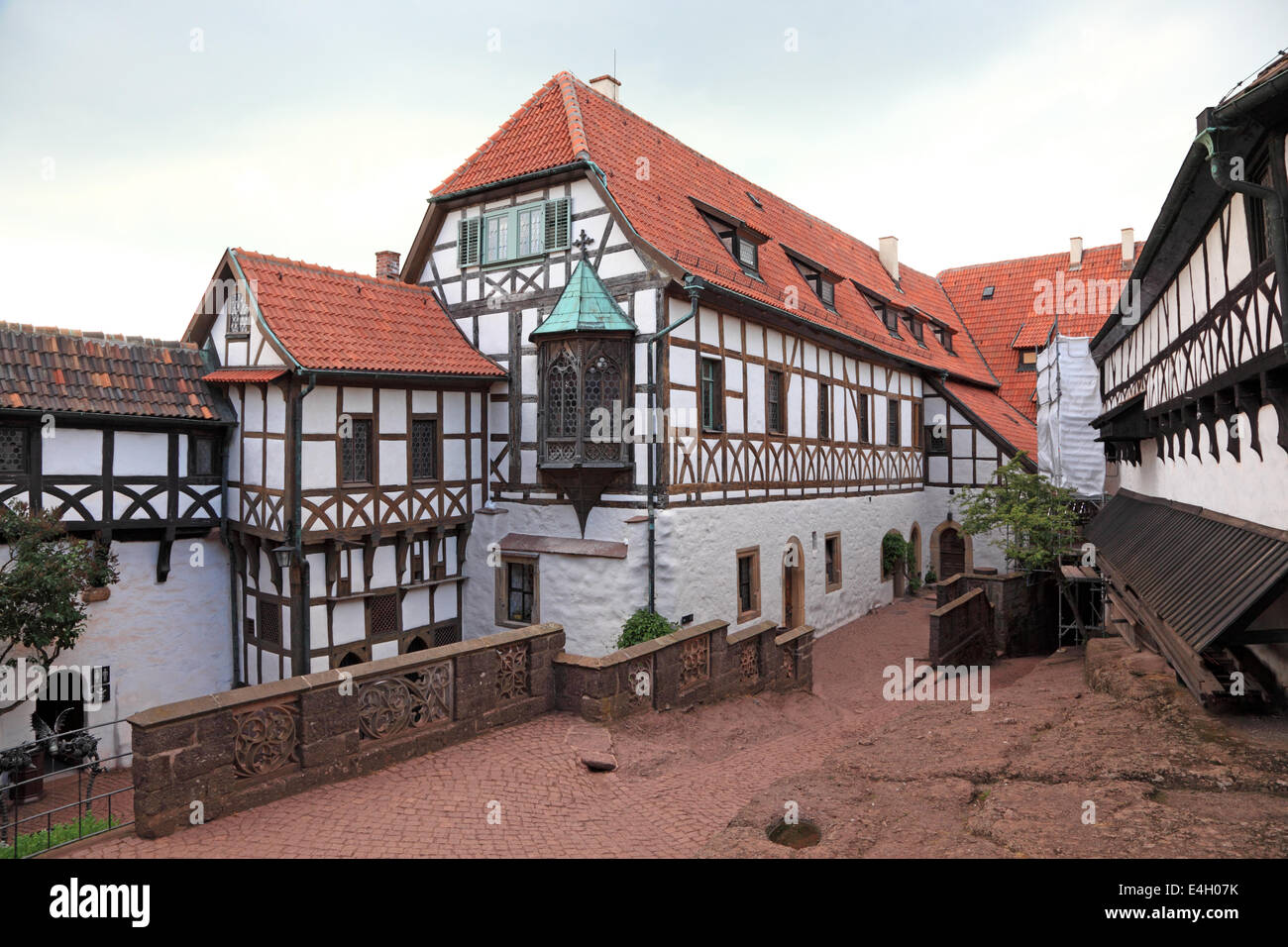 Half timbered house at the Wartburg Castle in Thuringia, Germany - Stock Image