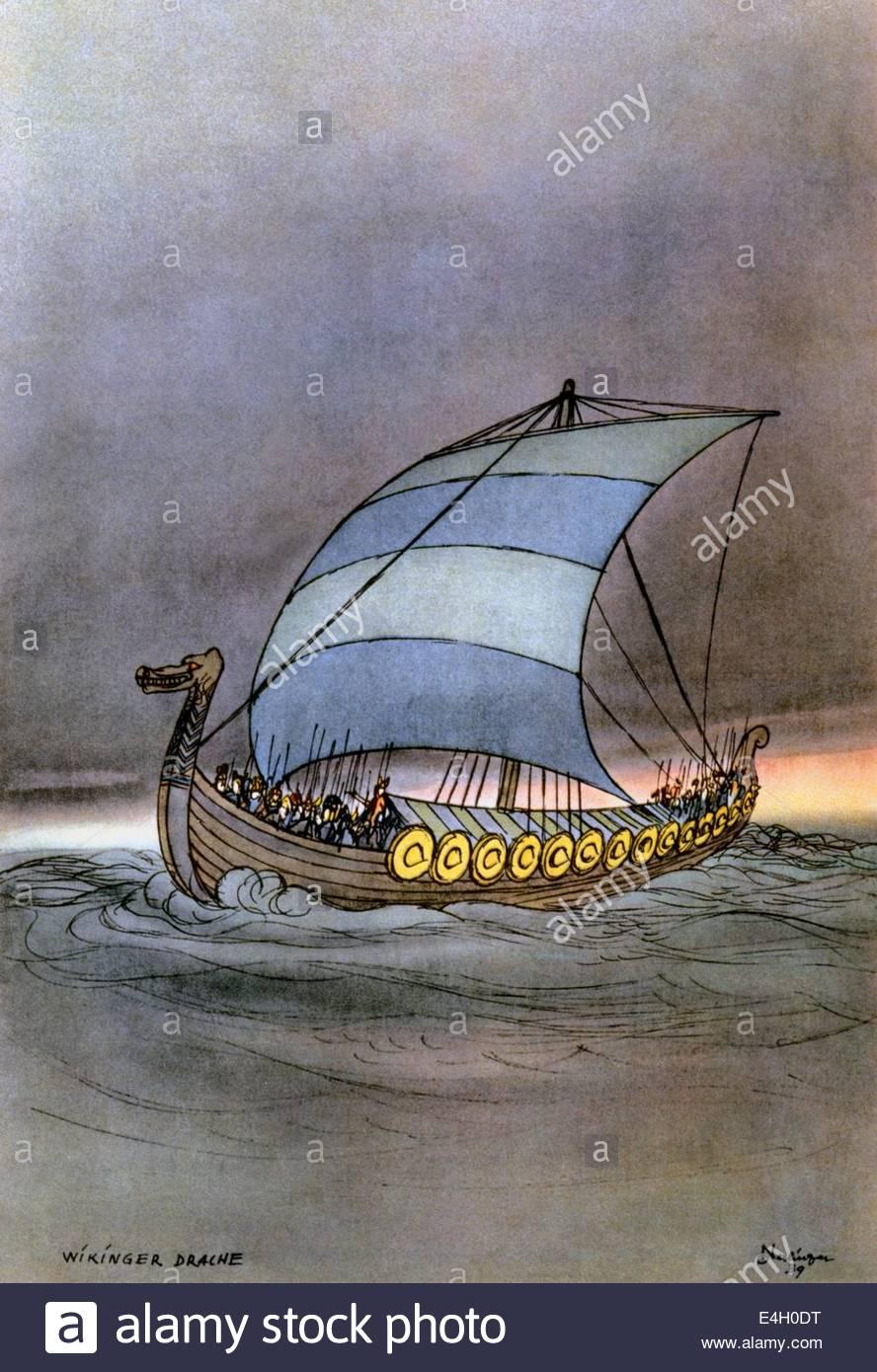 transport / transportation, navigation, Vikings, Viking ship, watercolour by Oskar Nerlinger, 1939, Artist's - Stock Image