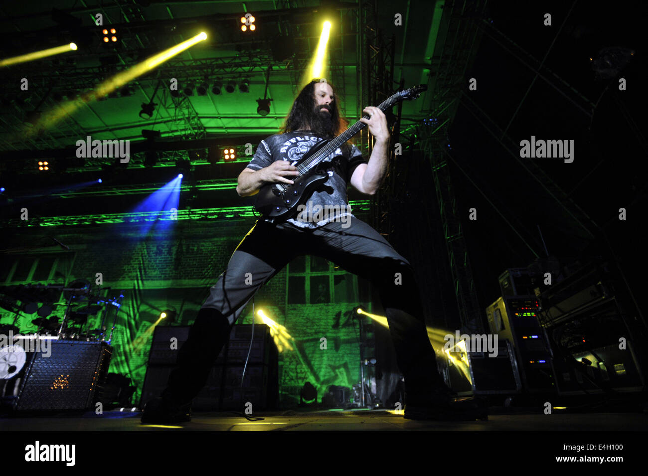 The guitarist of the US band Dream Theater, John Petrucci, performs at the music festival Masters of Rock on July - Stock Image