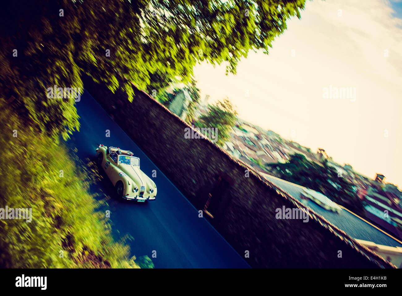 Jaguar XK140 DHC from 1955 at Mille Miglia - Classic Car Race, Brescia, Italy 2014 - Stock Image