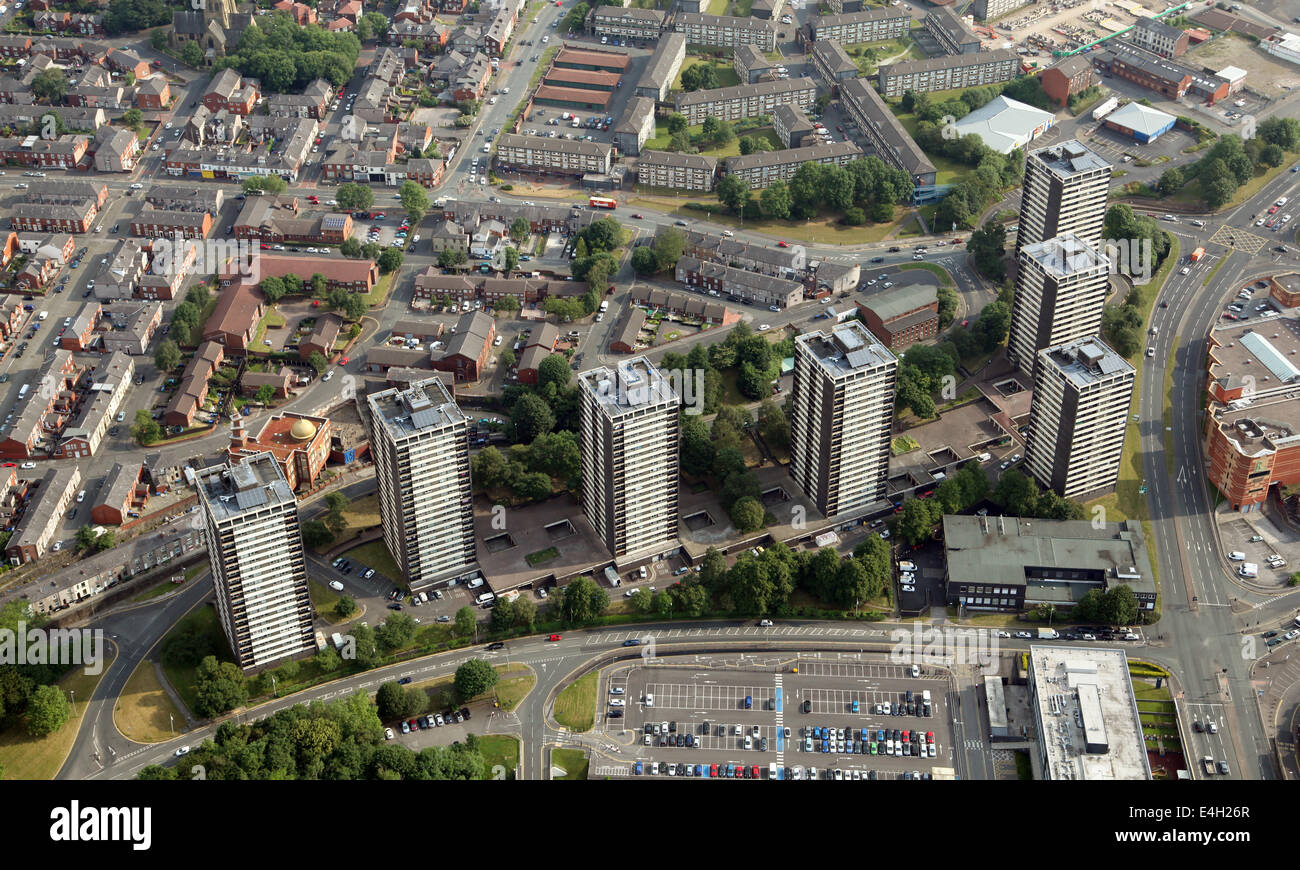aerial view of the famous 7 blocks of flats, apartment blocks, in the centre of Rochdale, Lancashire - Stock Image