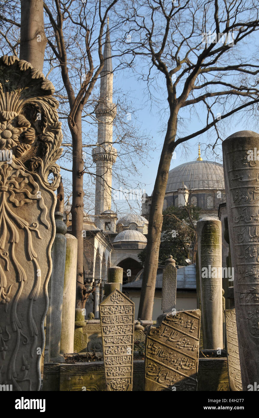 Ottoman-era cemetery next to the historic Eyüp mosque by the Golden Horn in Istanbul - Stock Image