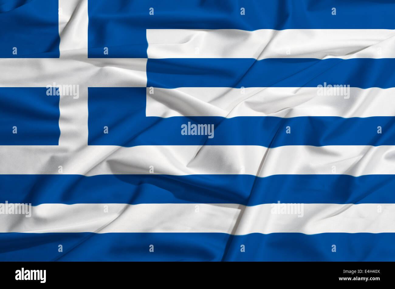 Greece flag on a silk drape - Stock Image