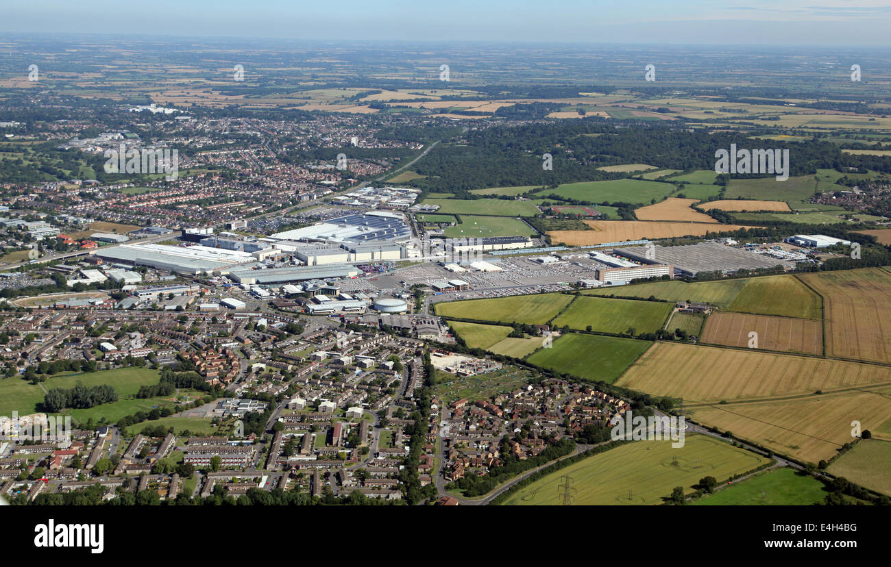 aerial view of the Mini car manufacturing factory at Cowley in Oxford, UK - Stock Image