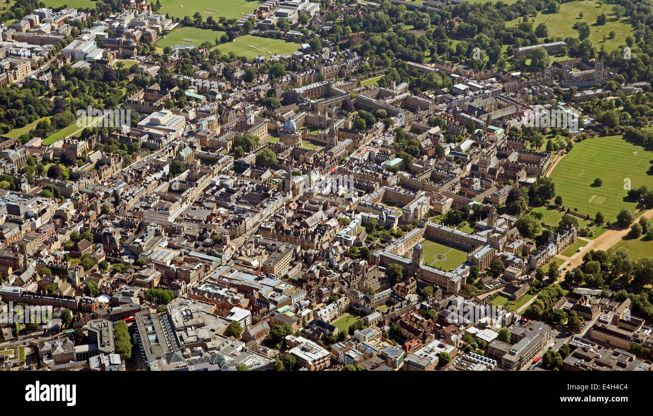 aerial view of Oxford city centre, UK - Stock Image