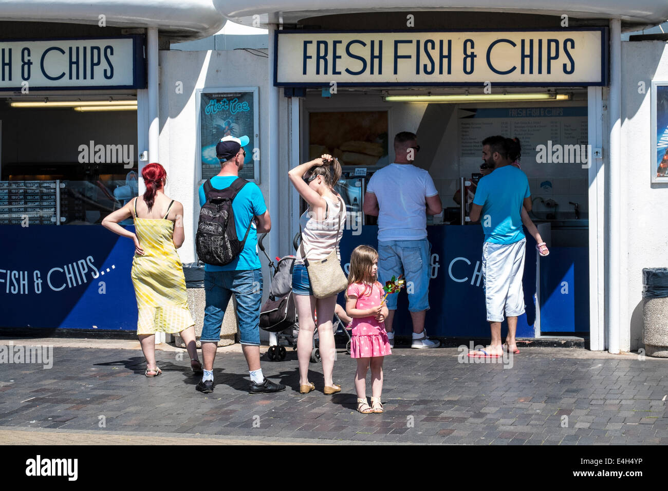 Traditional British sea-side food of Fish and Chips in Blackpool - Stock Image