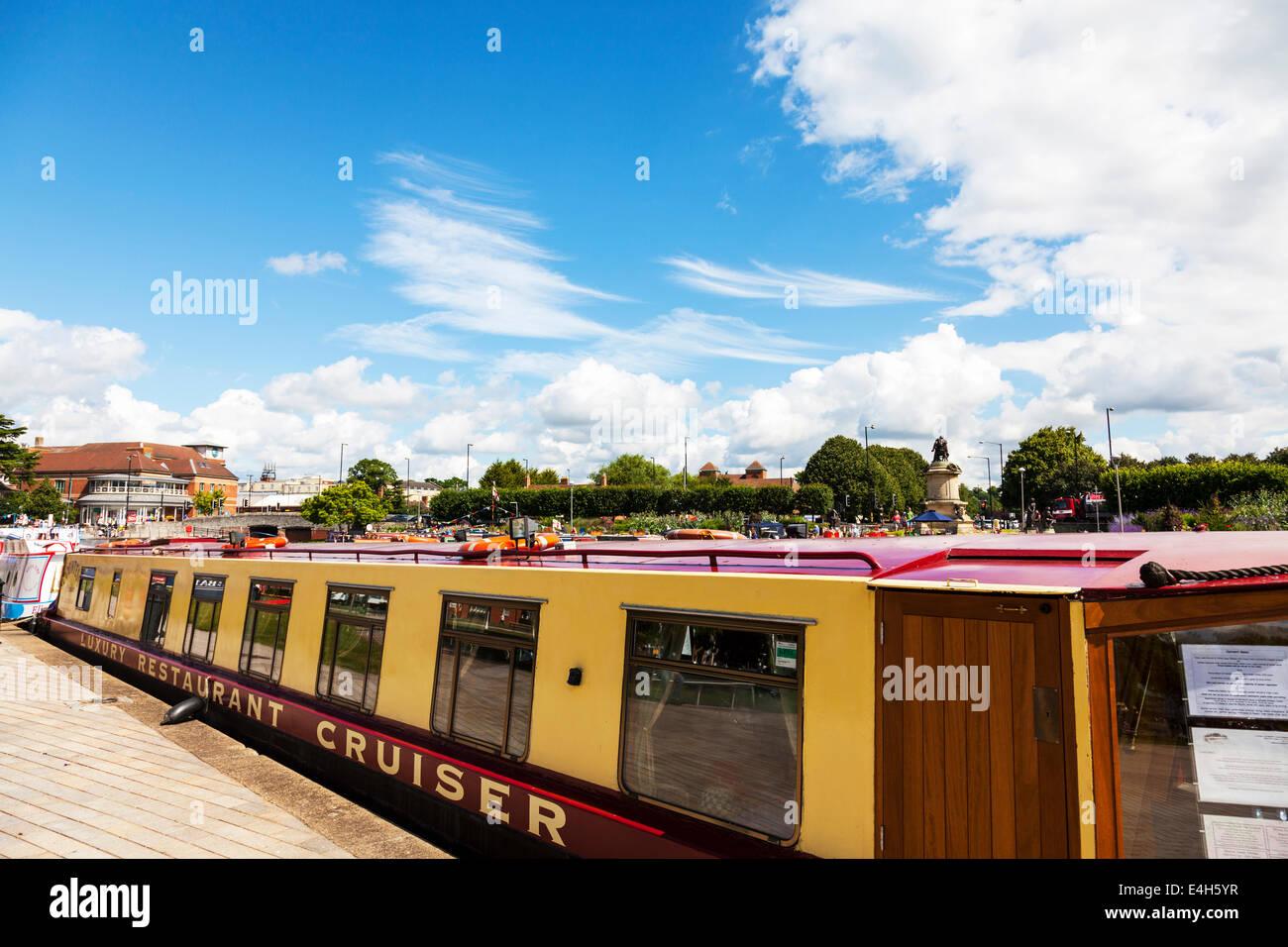Stratford Upon Avon river barges narrow boats marina summer barge boat Cotswolds UK England - Stock Image