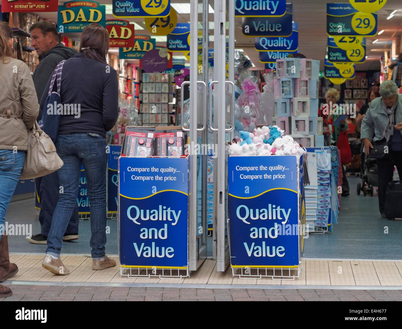 The entrance of a popular bargain store  on the pedestrian only George Street, Altrincham in Cheshire - Stock Image