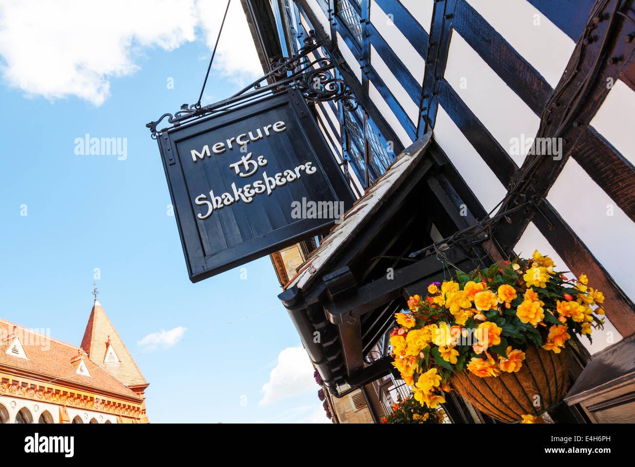 Mercure the Shakespeare tea room restaurant Stratford Upon Avon Cotswolds UK England Tudor building sign exterior - Stock Image