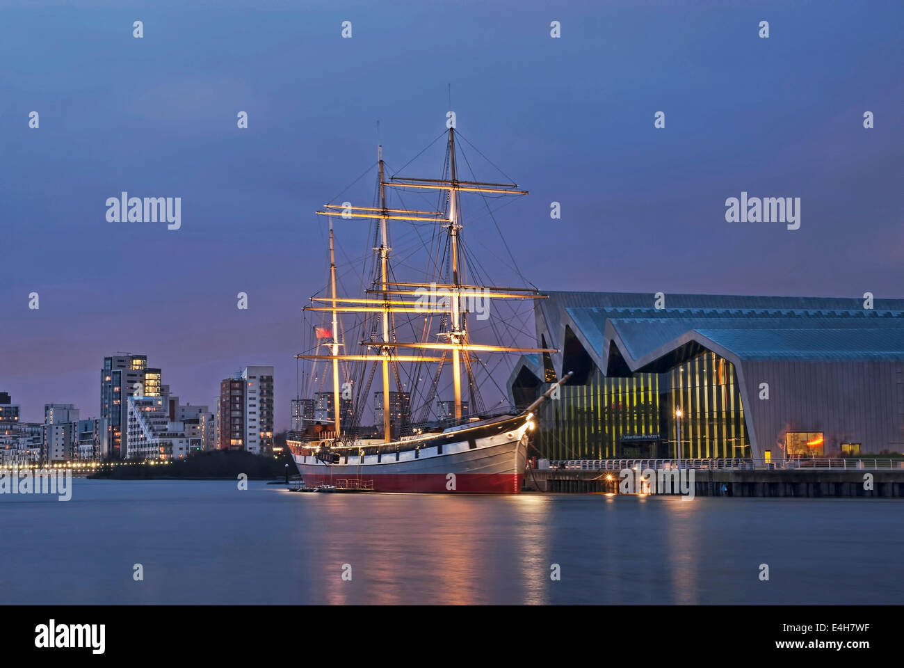 The Glenlee Tall Ship at the Riverside Museum Glasgow early evening in Winter - Stock Image