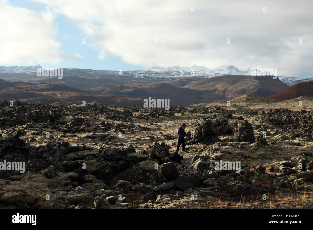 Man walking in the lava field at the Beserkjaravn near Bjarnahofn, Iceland. - Stock Image