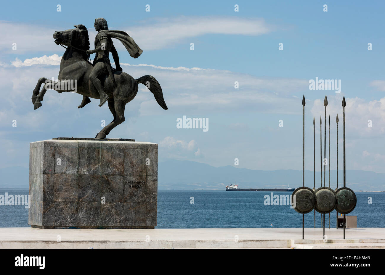 Statue of Alexander the Great and his horse Bucephalus, during a sunny morning, in the city of Thessaloniki, Greece. Stock Photo