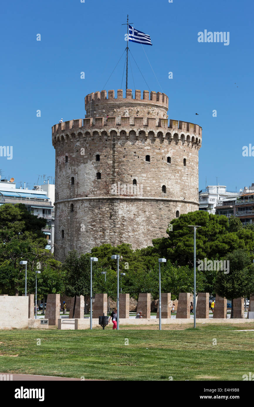 The city`s landmark, the White Tower in Thessaloniki, Greece. - Stock Image