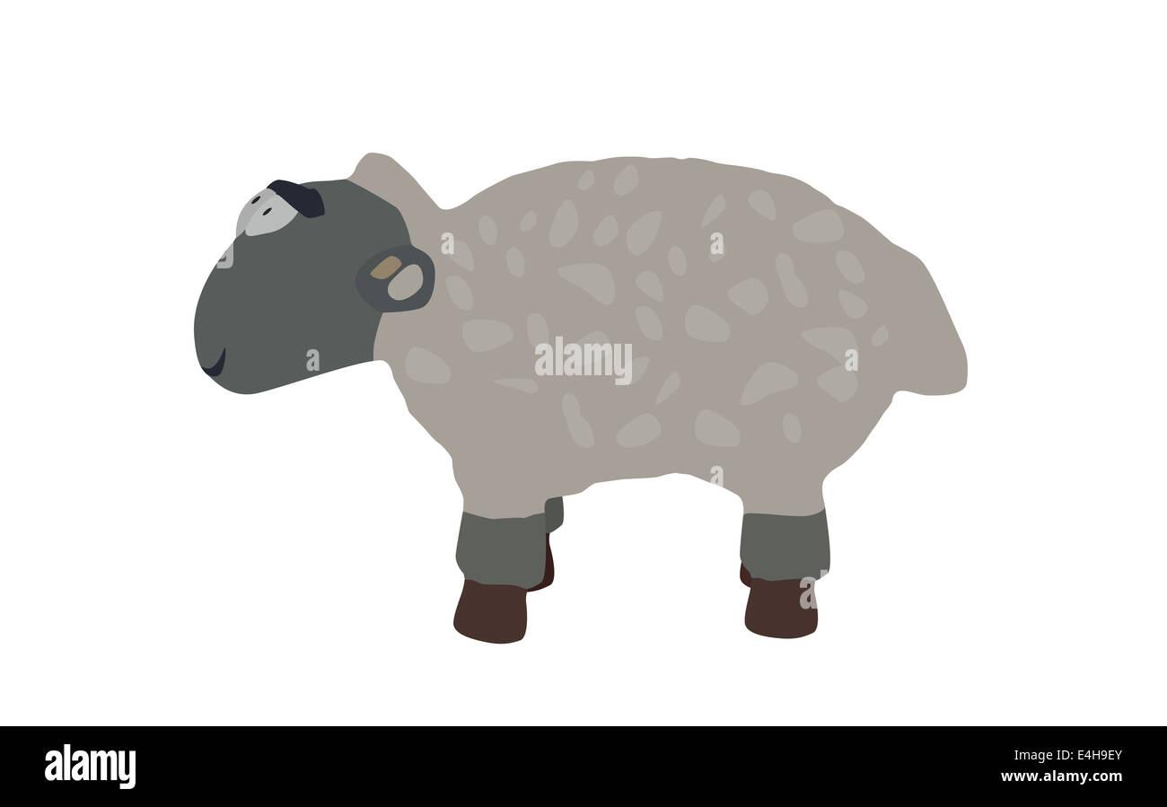 Funny Lamb Isolated on White Background. Stock Photo