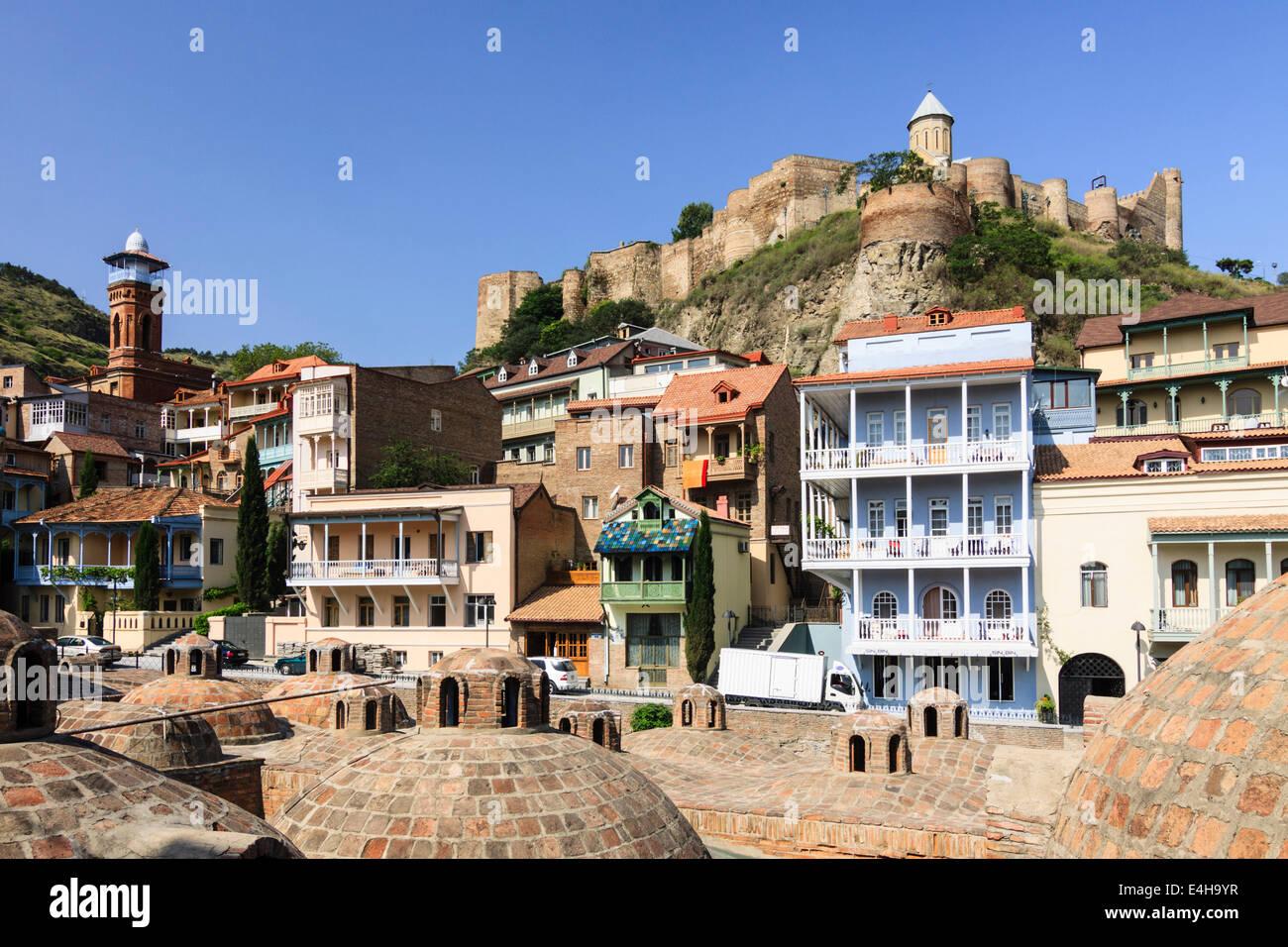 Abanotubani baths district and Nariqala citadel in Old Tbilisi, Georgia Stock Photo
