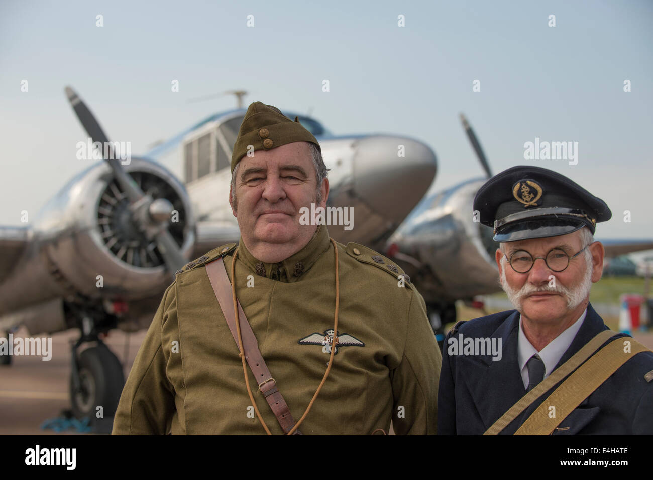 RAF Fairford, Gloucestershire UK. 11th July 2014. Early 20th century military uniforms at RIAT. Credit:  Malcolm Stock Photo