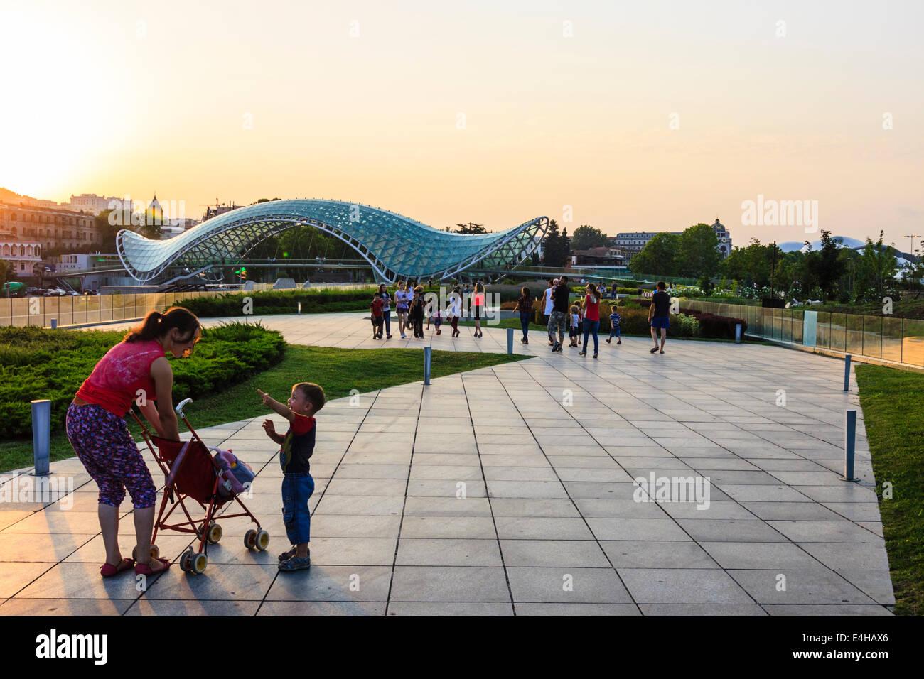 Peace Bridge and Rike Park at sunset, Tbilisi, Georgia Stock Photo